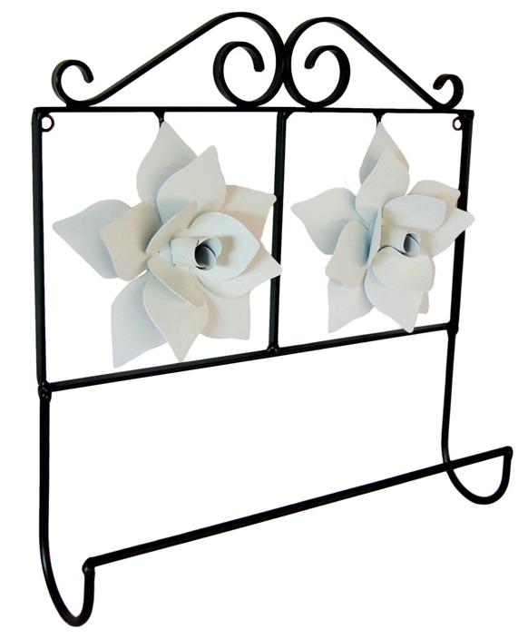 Porta Toalha 02 Rosas Branco Artesanal Rústico Minas Gerais