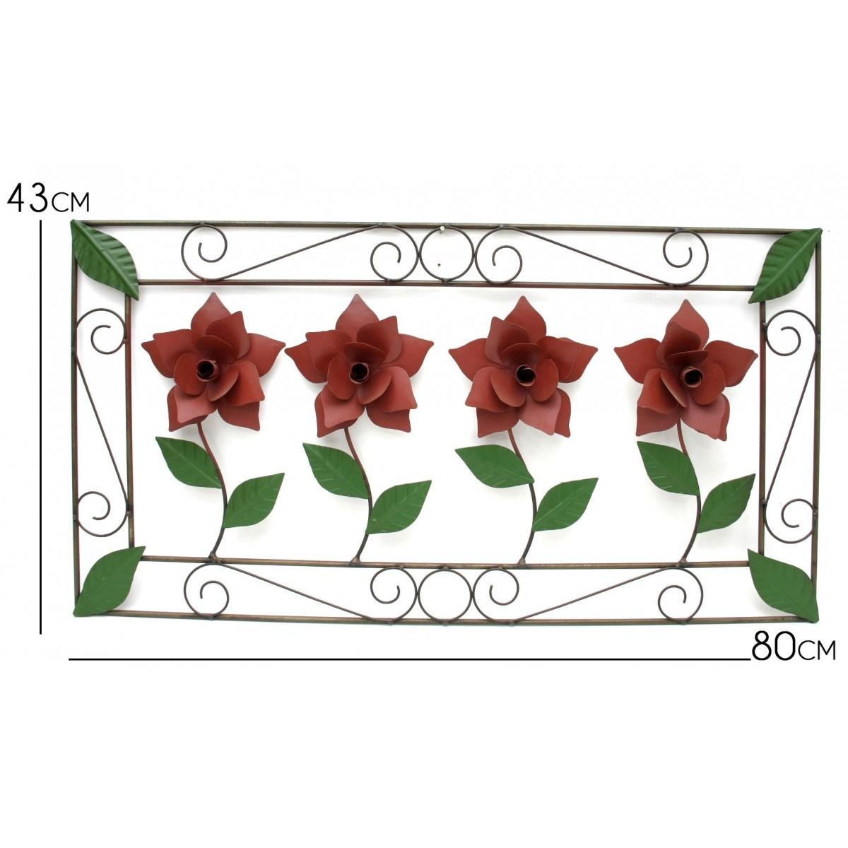 Quadro de Parede Colonial com Flores em Ferro para Sala de Estar