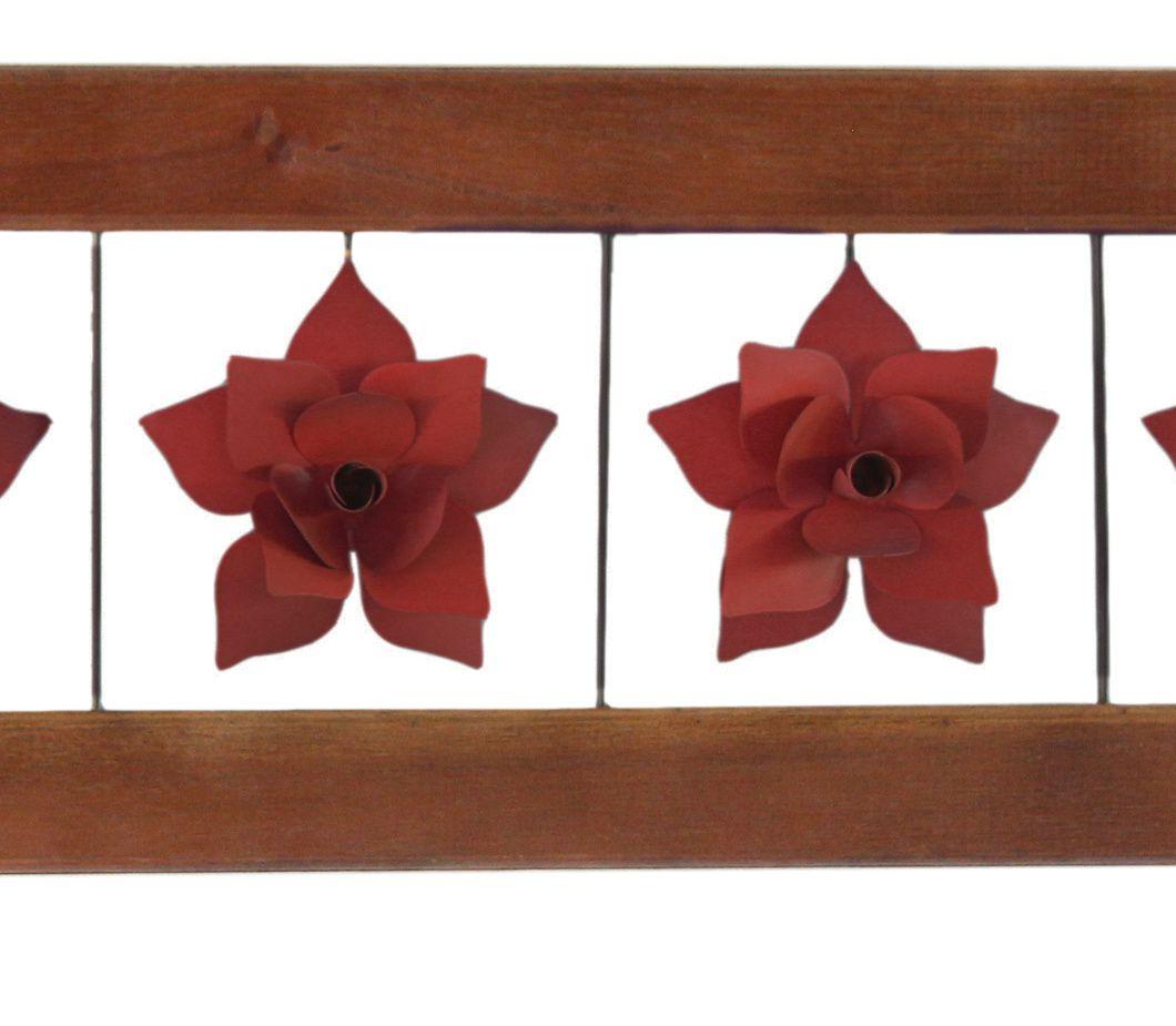 Quadro Madeira 5 Rosas Vermelho
