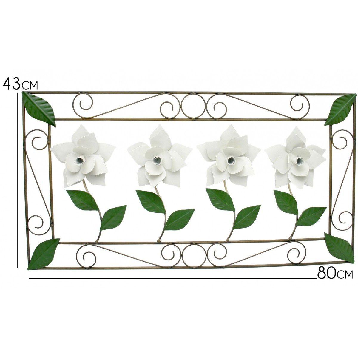 Quadro para Quarto Artesanal de Ferro com Flores e Folhas Decorativo