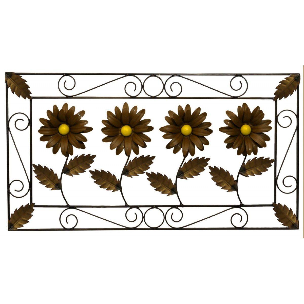 Quadro Rustico para Sala de Jantar em Ferro Artesanal com Flores