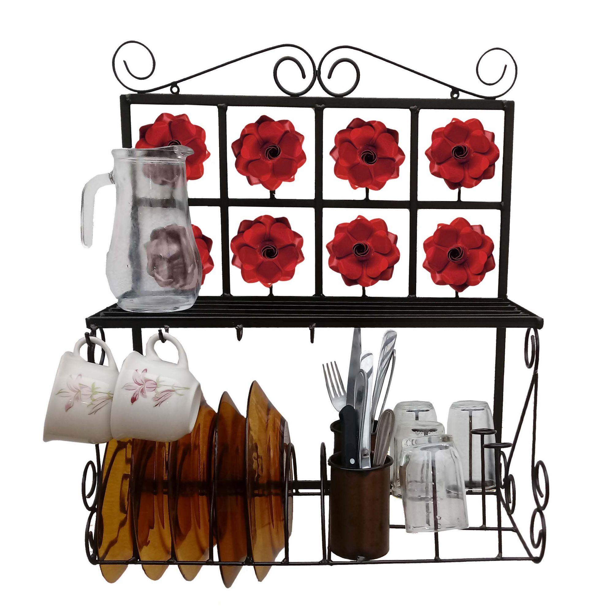Suporte Artesanal Para Pratos E Copos Decorativo Para Cozinha Rustica