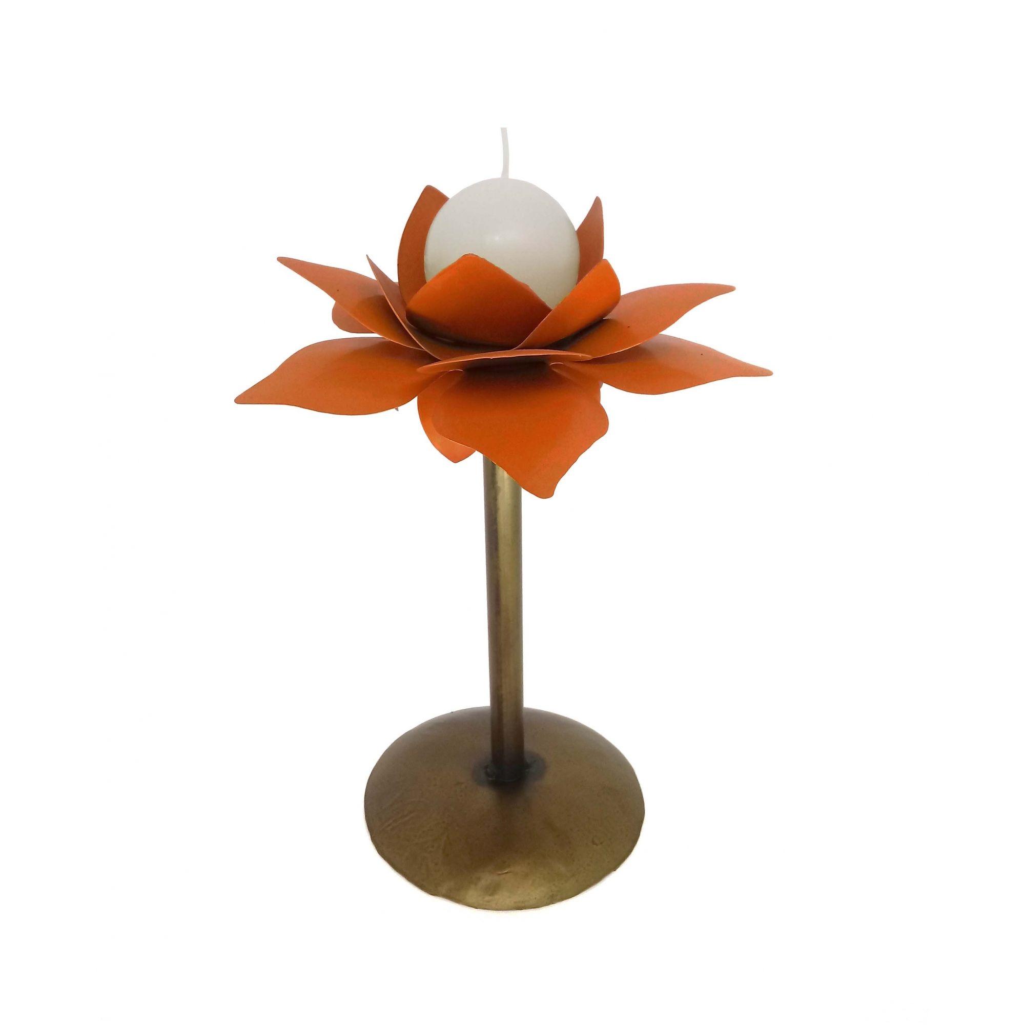 Suporte De Mesa Para Vela Decorativa Moderna De Ferro Flores