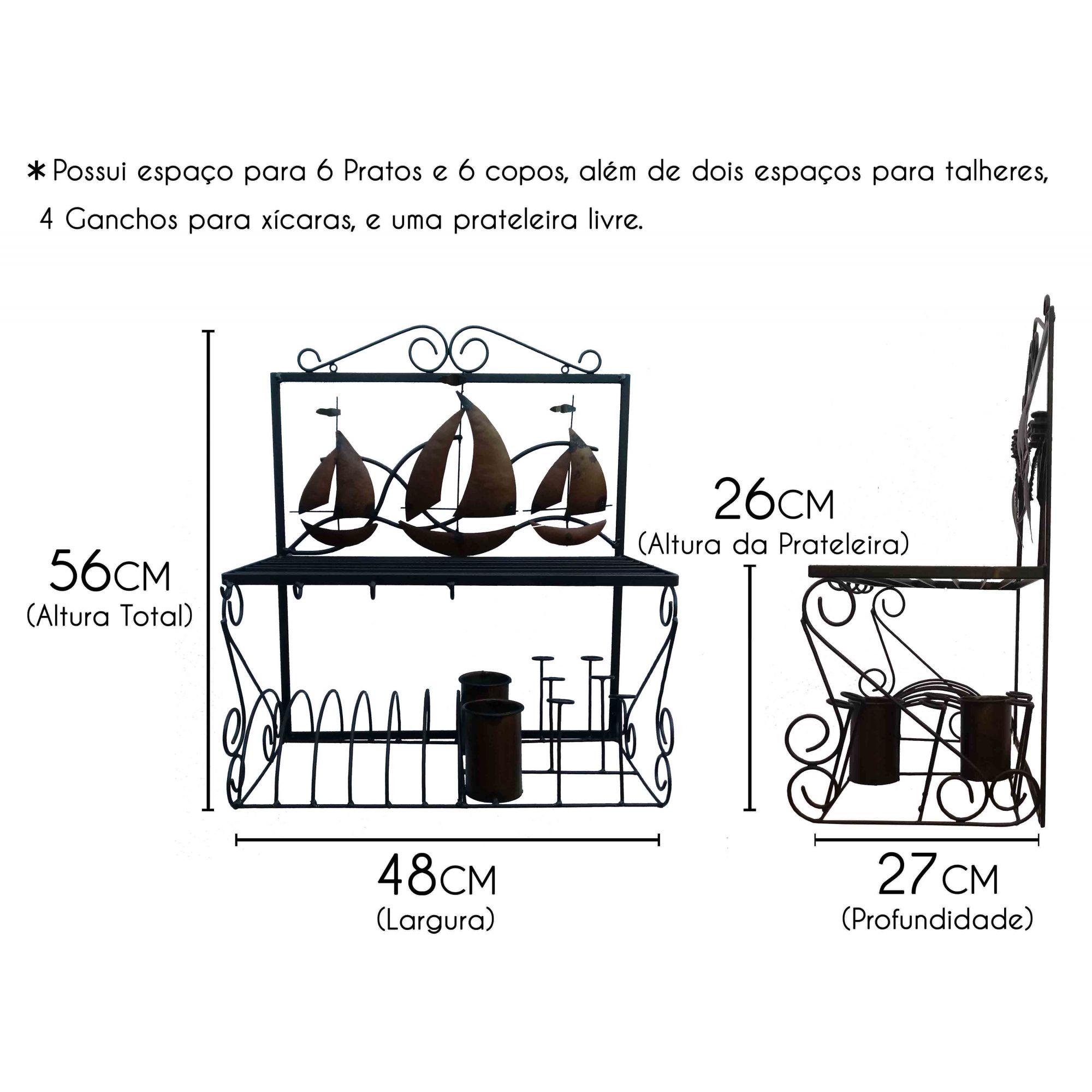 Suporte de Pratos e Copos para Decoração Interna de Cozinha Moderna