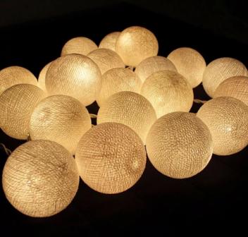 Cordão de Luz LED Bolinha de algodão