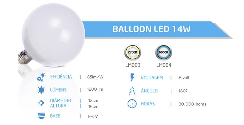 Lâmpada Balloon Led 14w  - Luminatti
