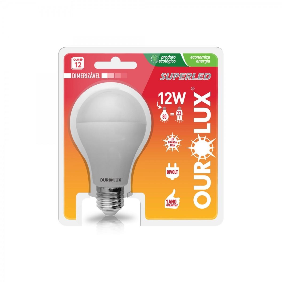 Lâmpada Bulbo LED Dimerizavel 12w Amarela - Ourolux