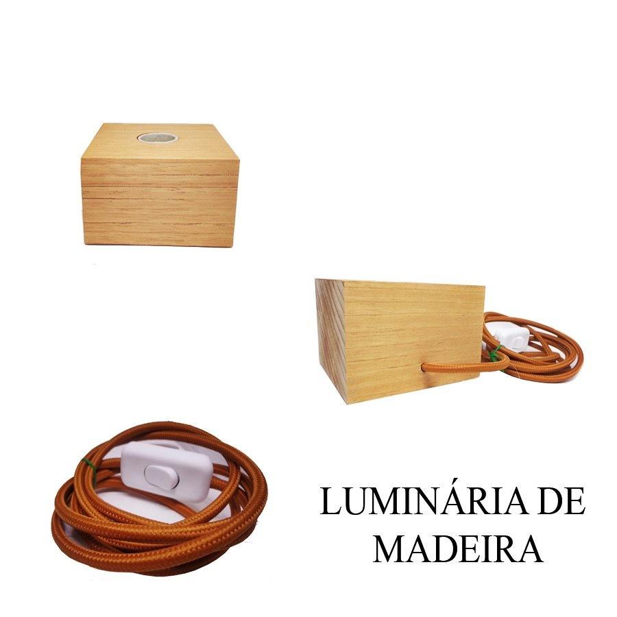 Luminária de Madeira Quadrada - Tona Brasil
