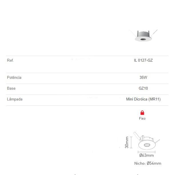 Mini Spot Embutido Fixo Redondo 35W - Interlight
