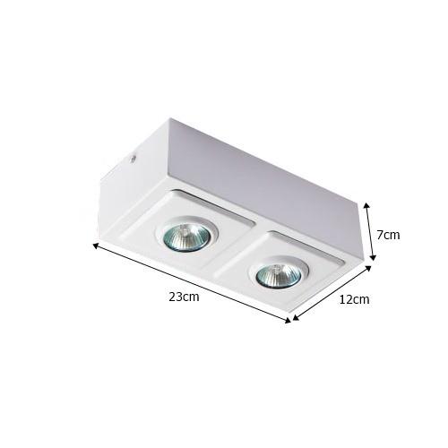 Spot Caixa Sobrepor p/ 2 Lampadas - Colombo