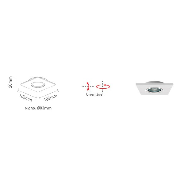 Spot Embutir Quadrado p/ Dicróica  50w - Interlight