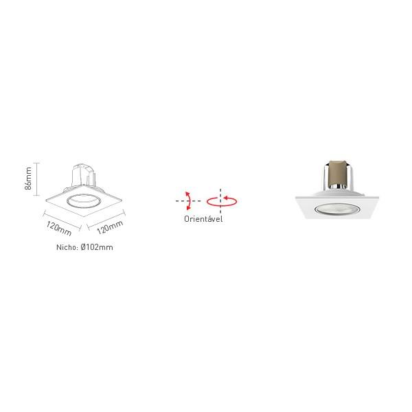 Spot Embutir Quadrado Par 20 50w - Interlight