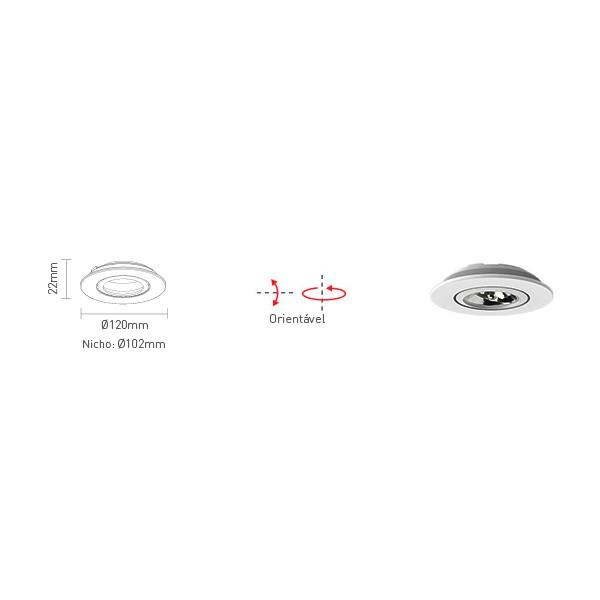 Spot Embutir Redondo p/ AR70 50w - Interlight