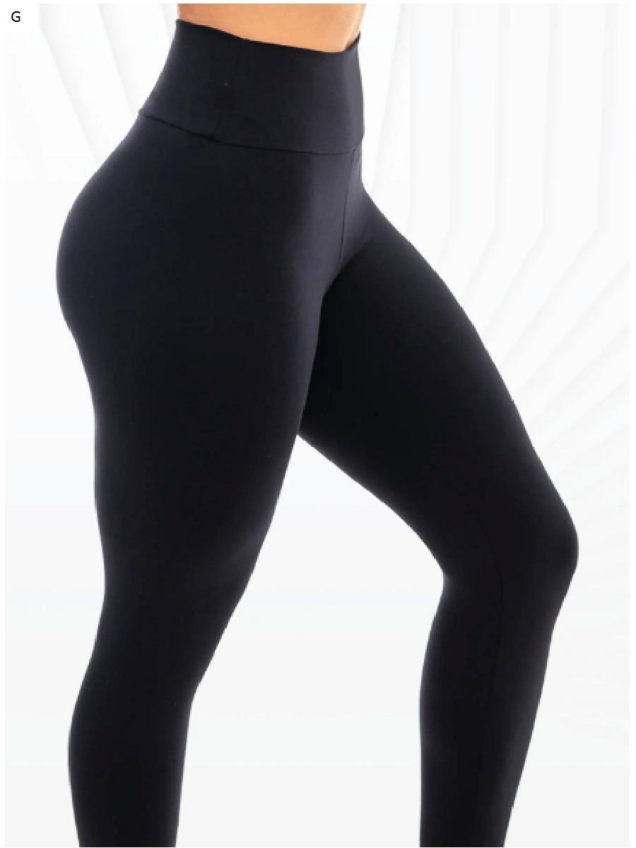 Calça Legging Feminina Lisa Sem Costura Lateral Cós Duplo Leg Academia
