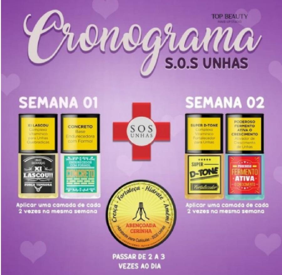 KIT SOS UNHAS TOP BEAUTY - TRATAMENTO DE UNHAS E CUTÍCULAS