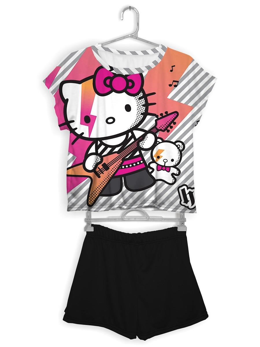 Pijama Conjunto Blusinha em Poliéster com Frente Estampada e Shorts Curto em Algodão