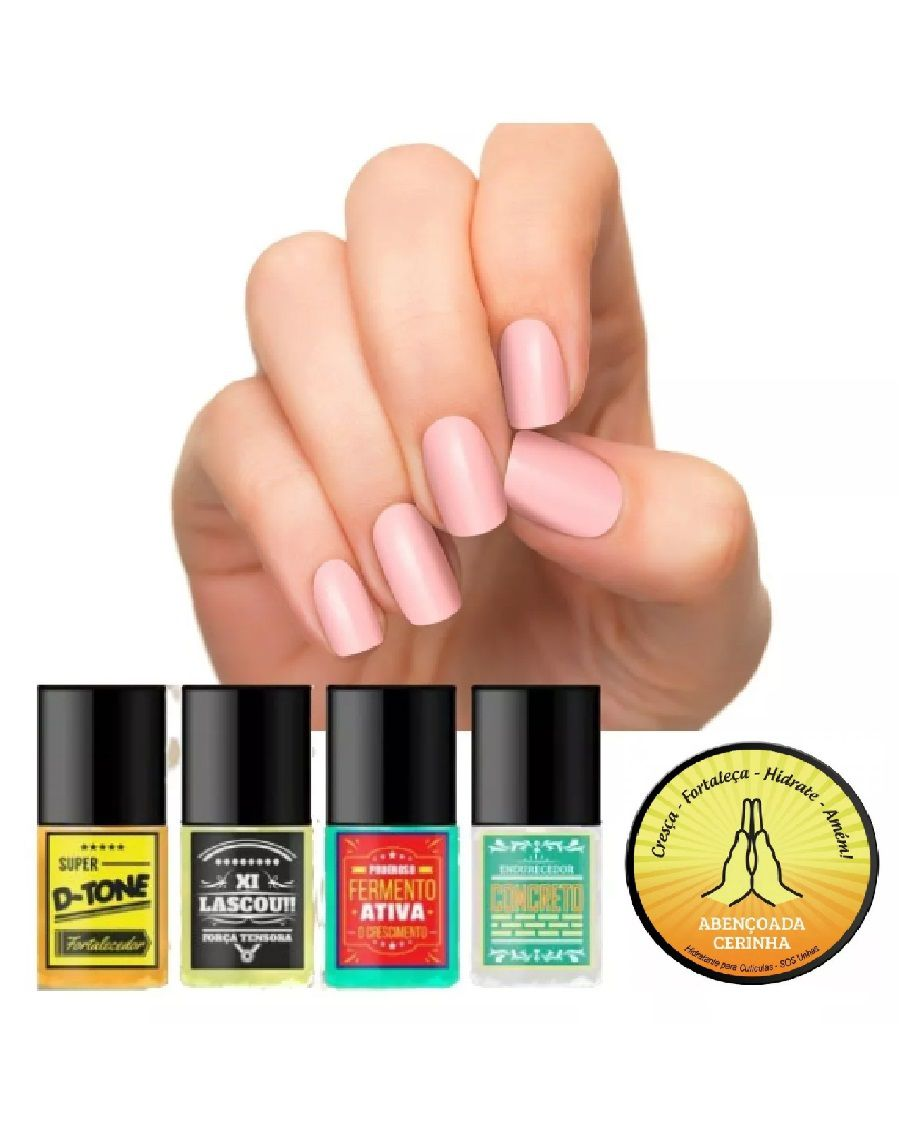 KIT SOS UNHAS TOP BEAUTY - TRATAMENTO DE UNHAS E CUTÍCULAS