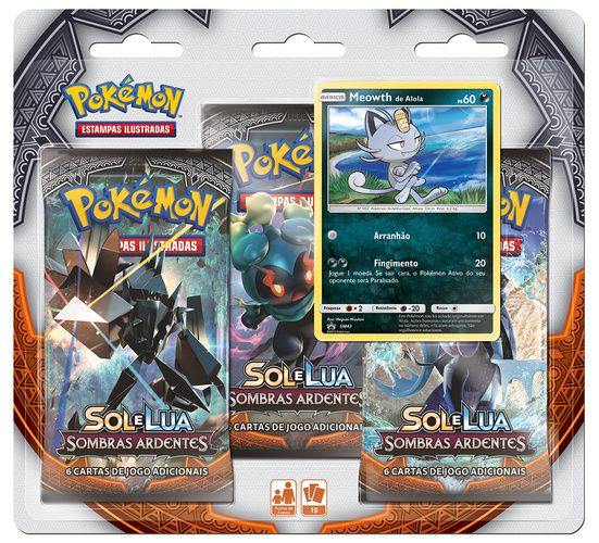 2 Packs Cards Pokémon Sol e Lua Sombras Ardentes Cosmog e Meowth