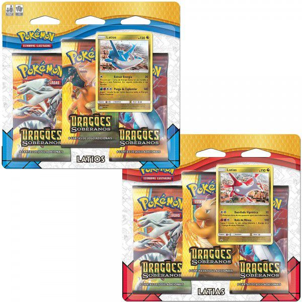2 Triple Pack Cards Pokémon Dragões Soberanos Latios e Latias