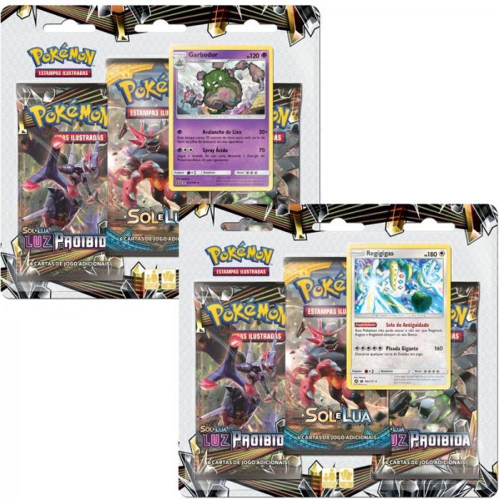 2 Triple Pack Cards Pokémon Sol e Lua Luz Proibida Garbodor e Regigigas