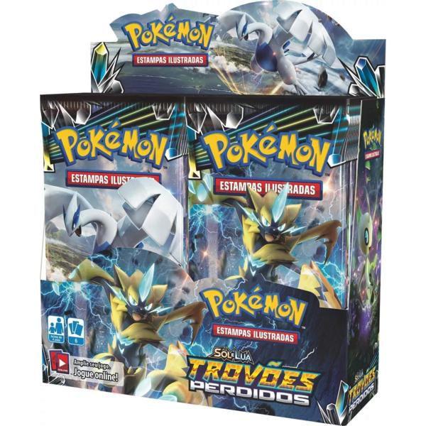Box 36 Booster Cards Pokémon Sol e Lua 8 Trovões Perdidos