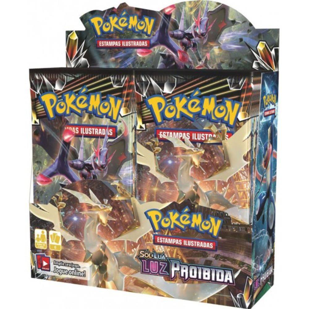 Box 36 Booster Cards Pokémon Sol e Lua Luz Proibida Copag