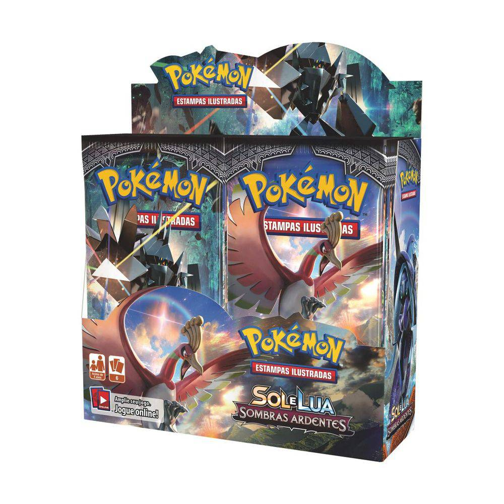 Box Display Pokémon Sol E Lua 3 Sombras Ardentes
