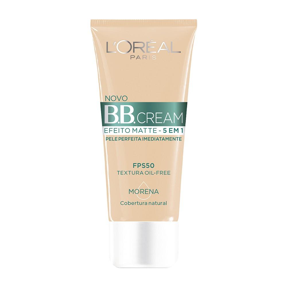Base B.B Cream Loreal Líquido Morena Efeito Matte 30 Ml  - Flor de Alecrim - Cosméticos