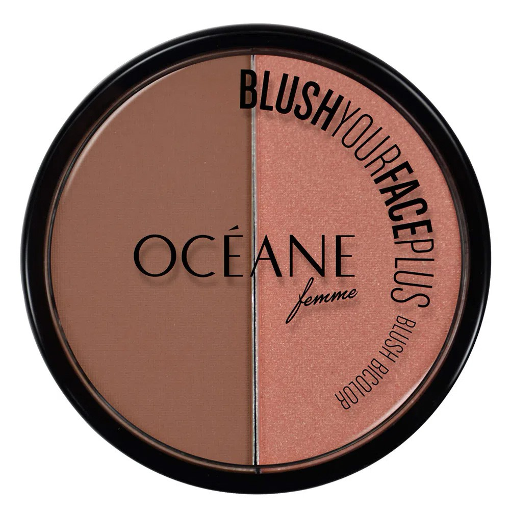 Blush Duo Your Face Plus Brown Orange - 9,3 g | Océane  - Flor de Alecrim - Cosméticos