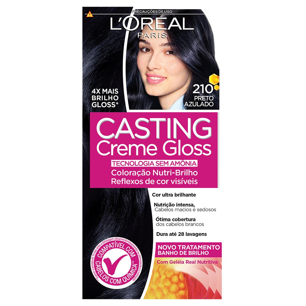 Coloração Creme 210 Preto Azulado Casting Gloss  - Flor de Alecrim - Cosméticos