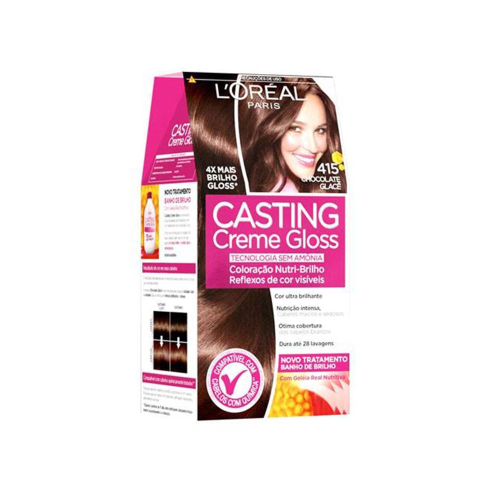 Coloração Creme 415 Chocolate Glacê Casting Gloss  - Flor de Alecrim - Cosméticos