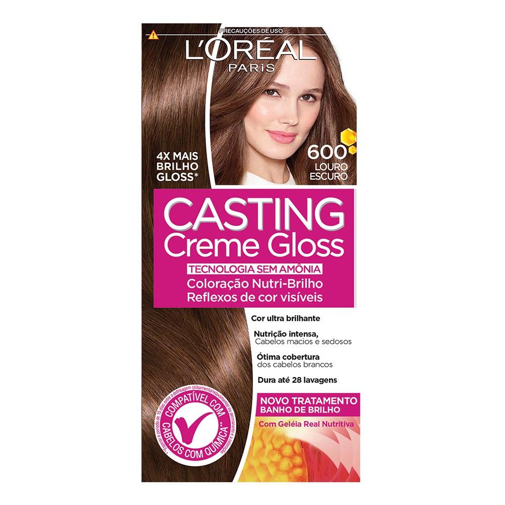 Coloração Creme 600 Louro Escuro Casting Gloss  - Flor de Alecrim - Cosméticos
