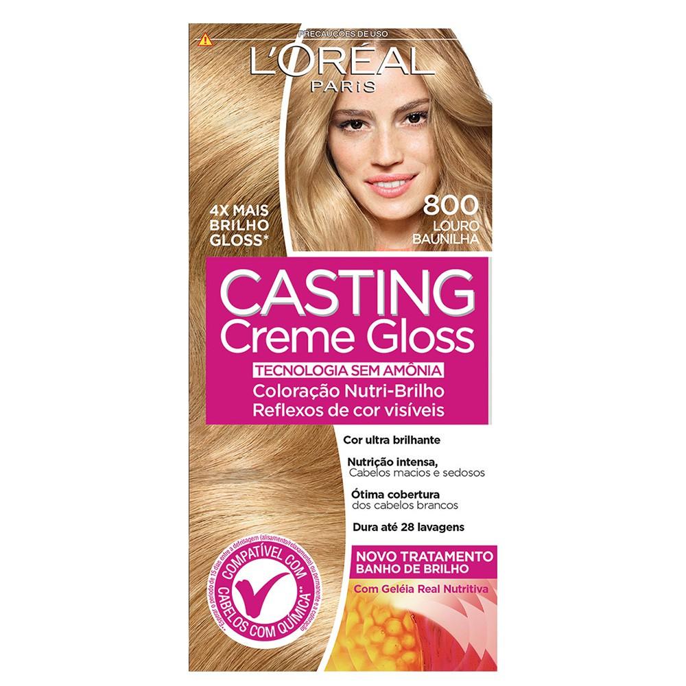 Coloração Creme 800 Louro Baunilha Casting Gloss  - Flor de Alecrim - Cosméticos