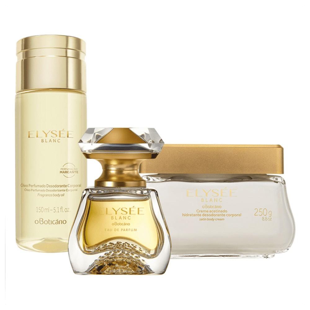 Combo Elysée Blanc: Eau de Parfum + Creme Acetinado Desodorante + Óleo Desodorante Corporal  - Flor de Alecrim - Cosméticos