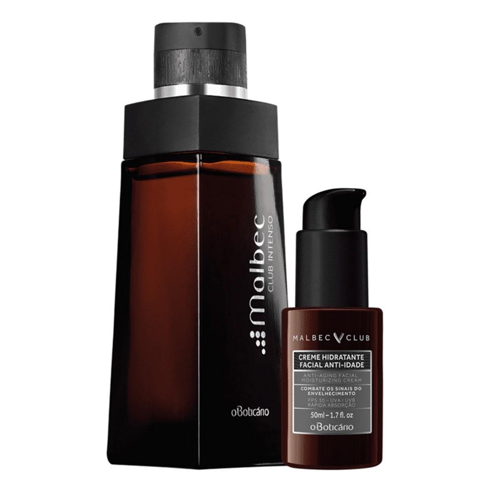 Combo Malbec Club Intenso: Desodorante Colônia + Creme Hidratante Facial  - Flor de Alecrim - Cosméticos