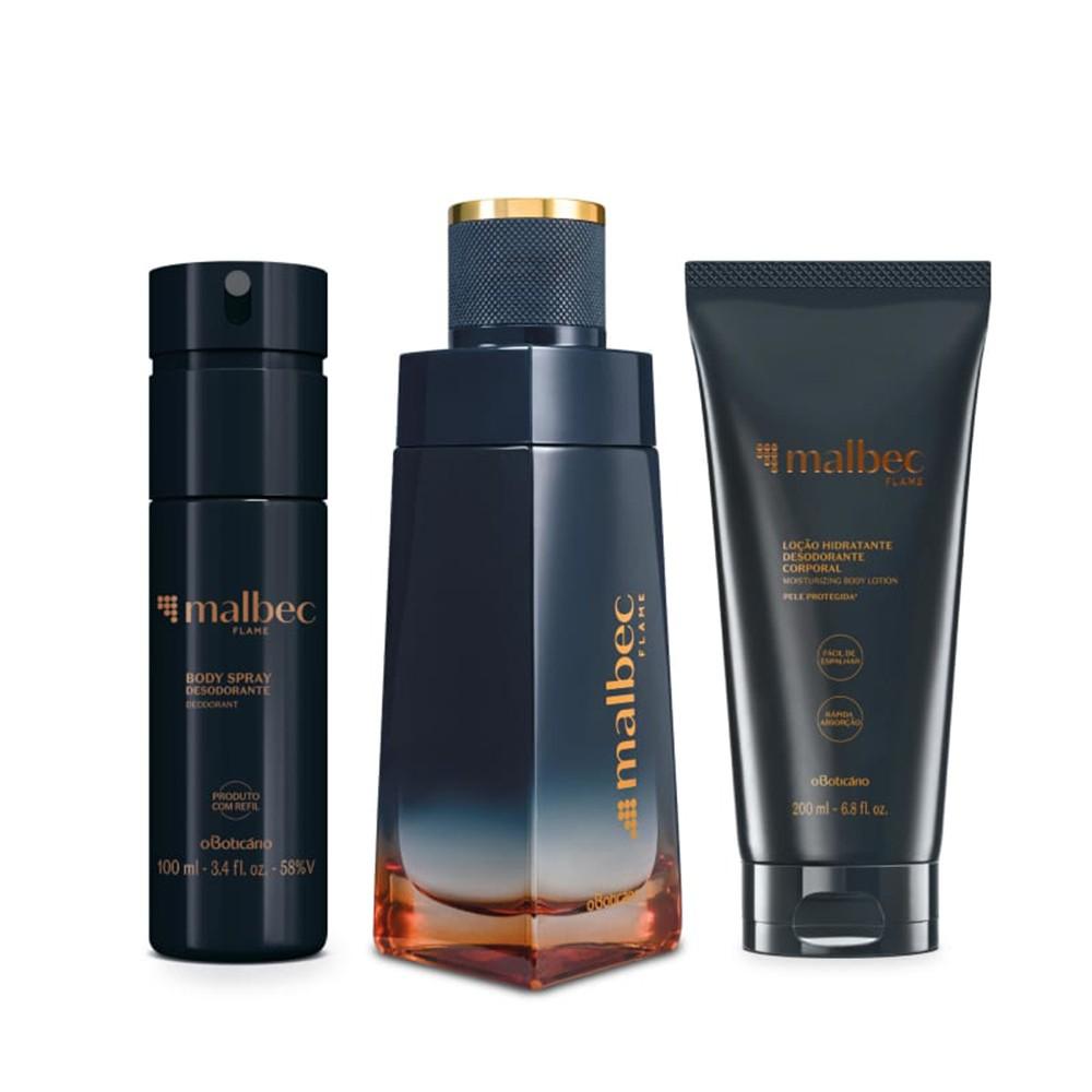 Combo Malbec Flame: Desodorante Colônia + Loção Desodorante Hidratante + Desodorante Body Spray  - Flor de Alecrim - Cosméticos