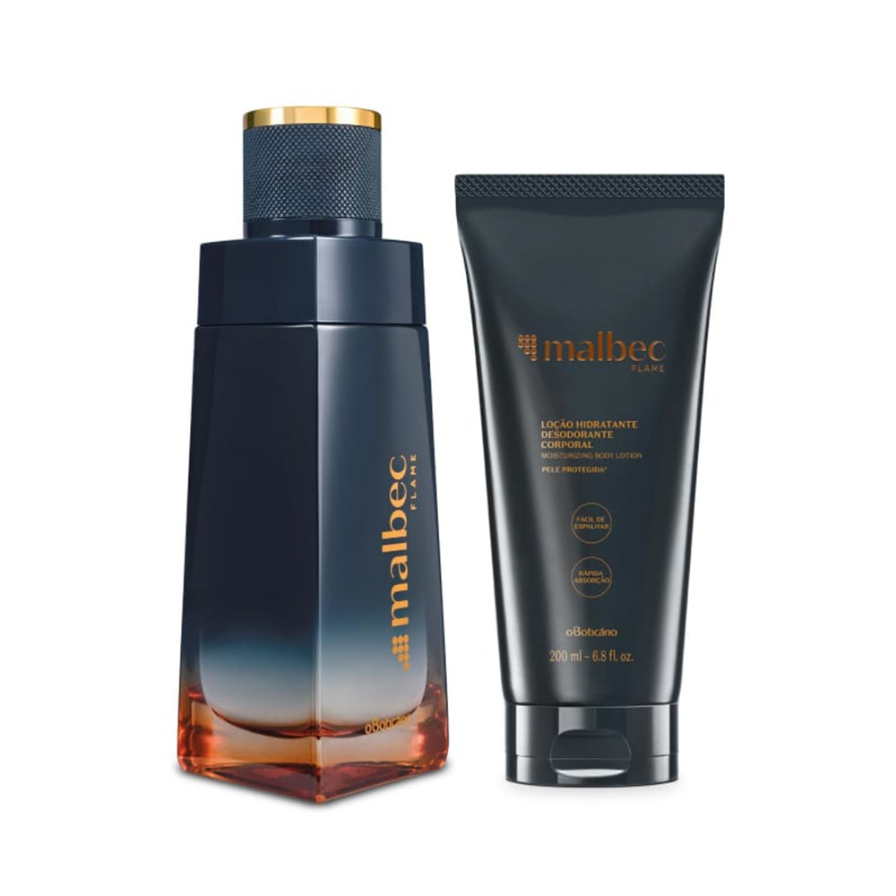 Combo Malbec Flame: Desodorante Colônia + Loção Desodorante Hidratante  - Flor de Alecrim - Cosméticos