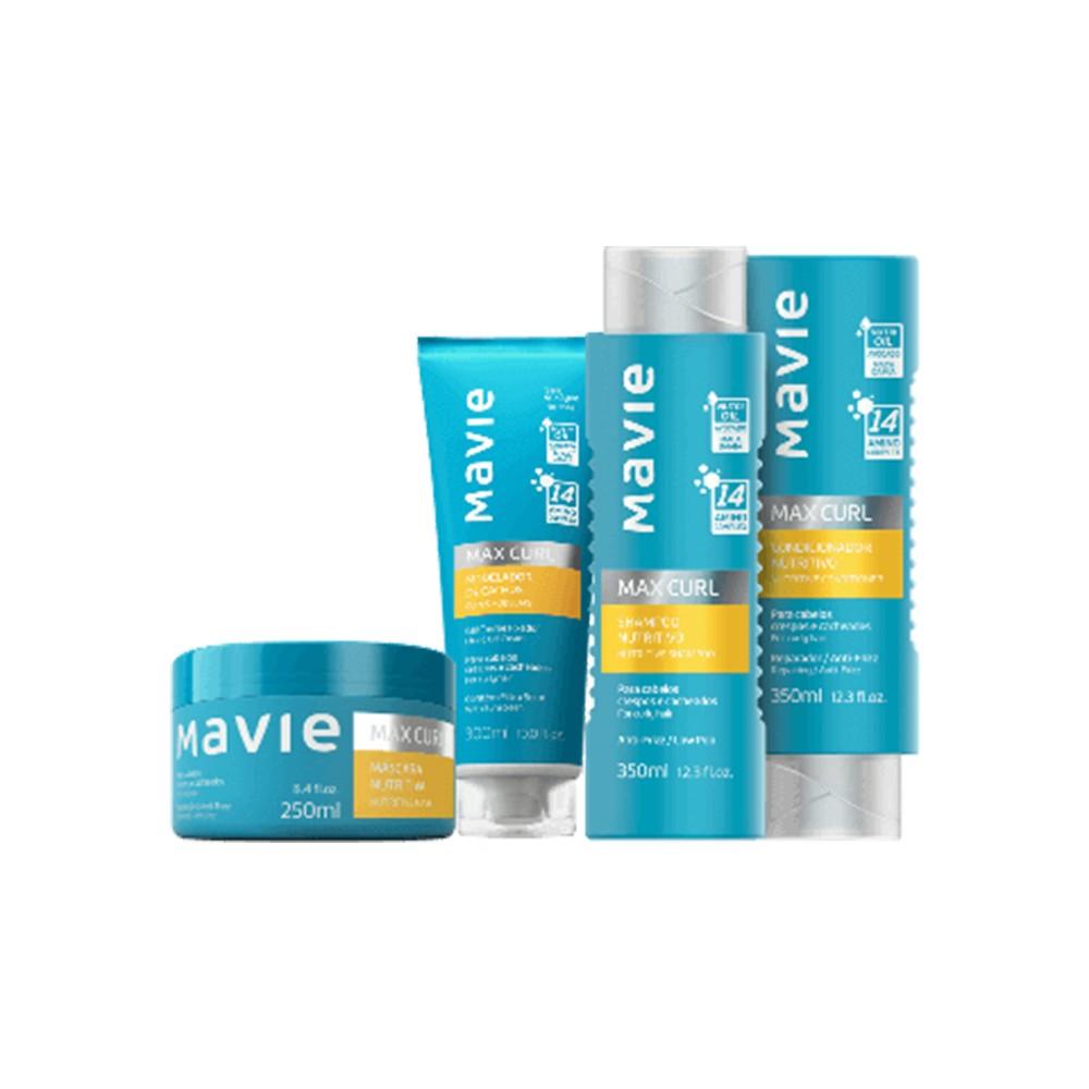 Combo Mavie: Shampoo + Condicionador + Máscara + Creme Modelador de Cachos Max Curl  - Flor de Alecrim - Cosméticos