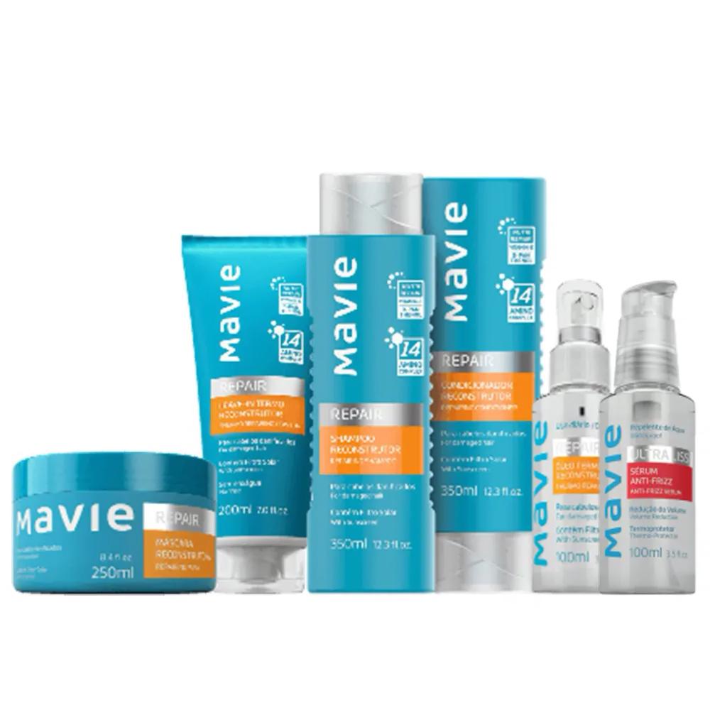 Combo Mavie: Shampoo + Condicionador + Máscara + Óleo Termo + Leave-in + Serum Repair  - Flor de Alecrim - Cosméticos