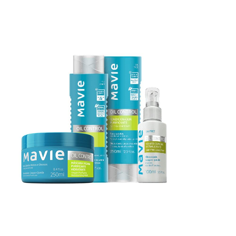 Combo Mavie: Shampoo + Condicionador + Máscara + Tônico Oil Control  - Flor de Alecrim - Cosméticos