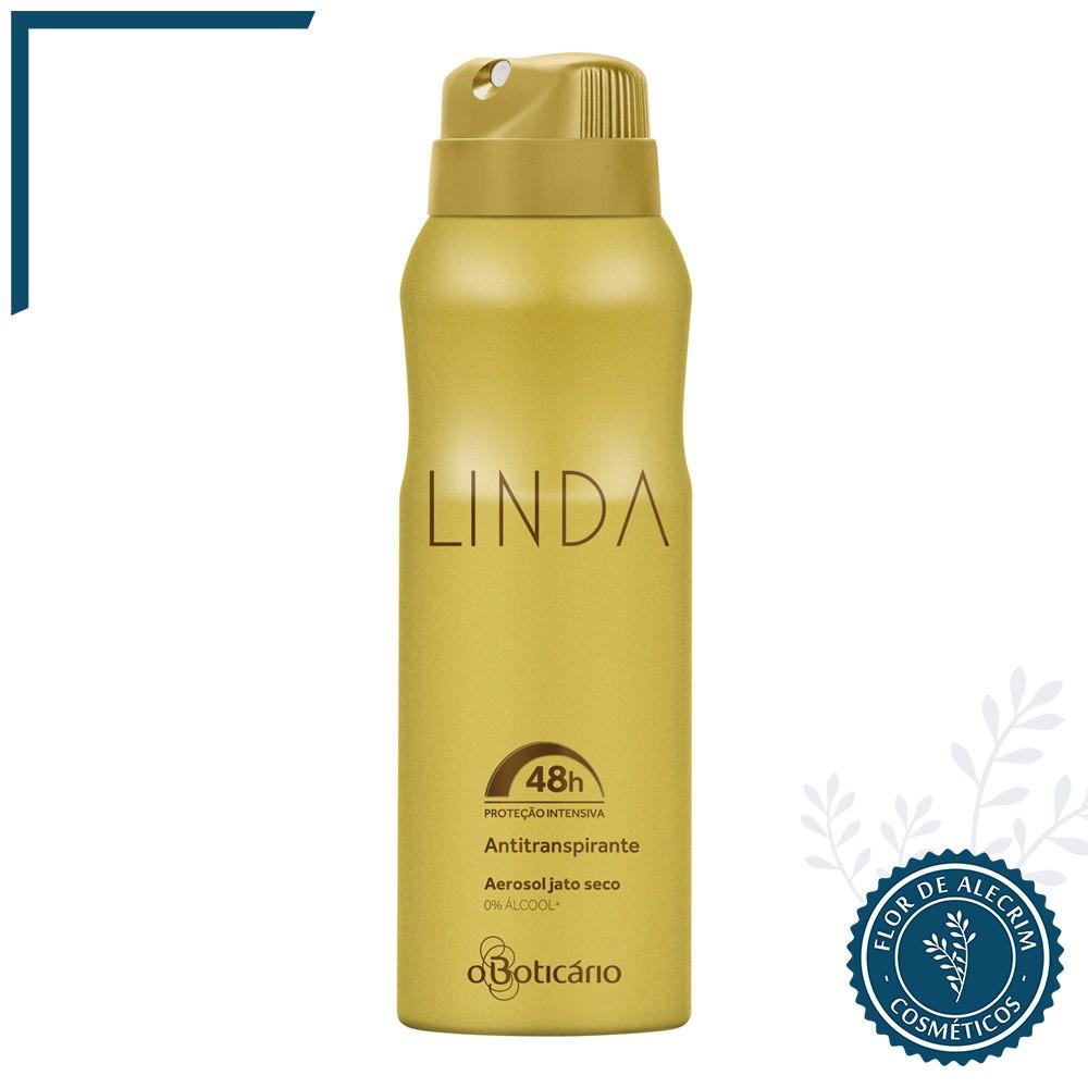 Desodorante Antitranspirante Aerossol | Linda - 75 g  - Flor de Alecrim - Cosméticos