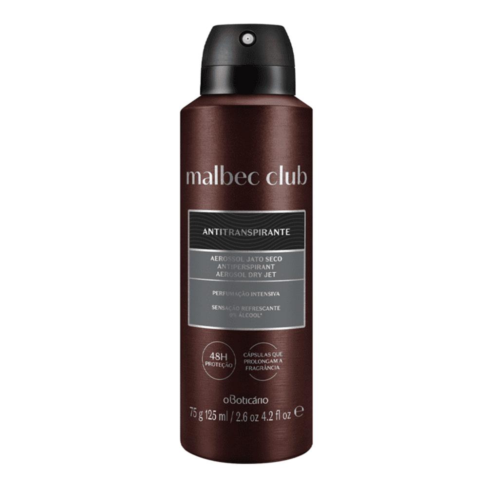 Desodorante Antitranspirante Aerosol Malbec Club Intenso 75 g  - Flor de Alecrim - Cosméticos