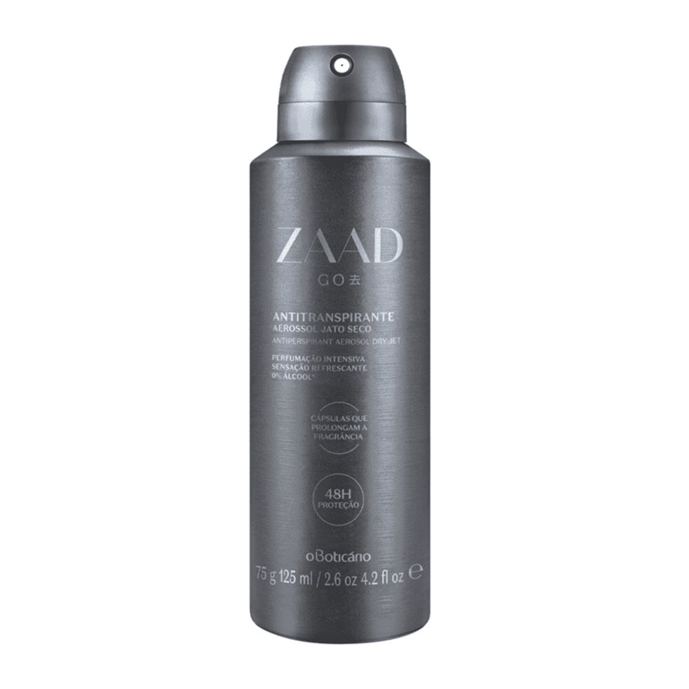 Desodorante Antitranspirante Aerosol Zaad Go 125 Ml  - Flor de Alecrim - Cosméticos