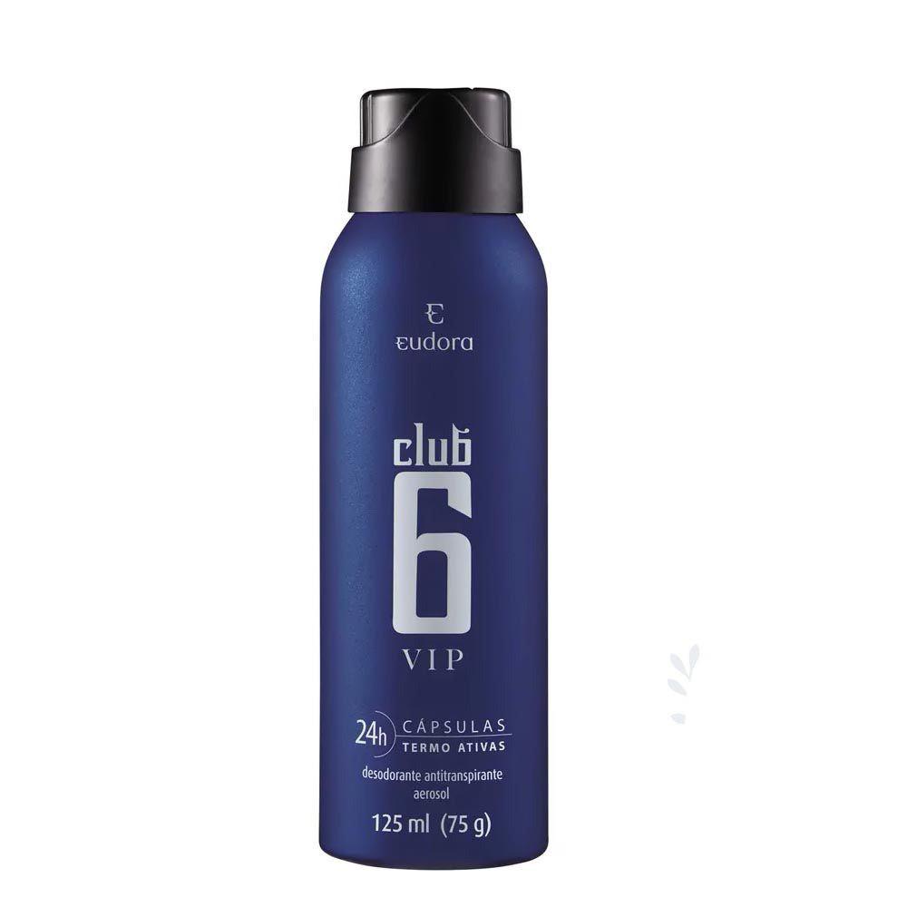 Desodorante Antitranspirante Aerosol Club 6 VIP 75 g  - Flor de Alecrim - Cosméticos