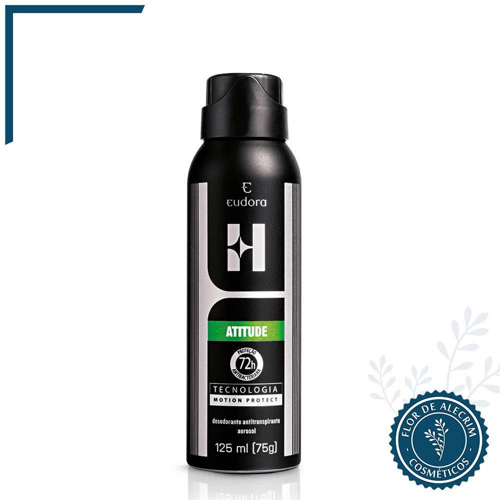 Desodorante Antitranspirante Aerossol Eudora H. Atitude - 125 ml   Eudora  - Flor de Alecrim - Cosméticos