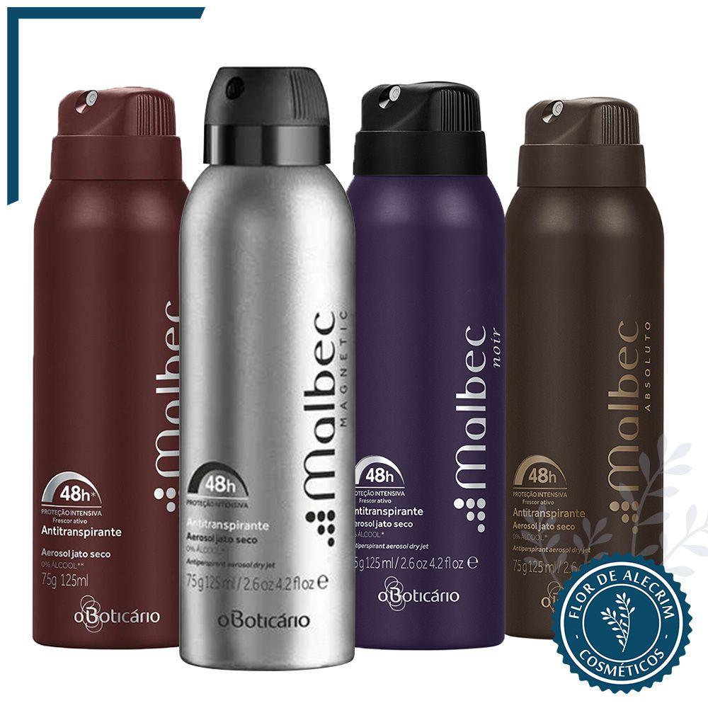 Desodorante Antitranspirante Aerossol | Malbec - 75 g  - Flor de Alecrim - Cosméticos