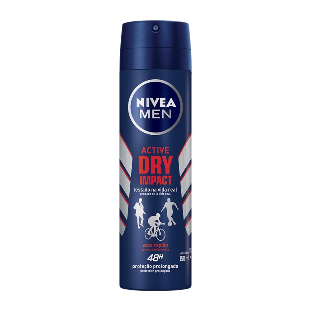 Desodorante Antitranspirante Aerosol Nivea Men Active Dry Impact 150 Ml   - Flor de Alecrim - Cosméticos