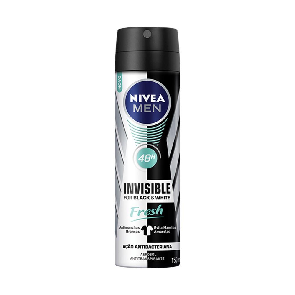 Desodorante Antitranspirante Aerossol Men Black White Invisible Fresh - 150 Ml | Nivea  - Flor de Alecrim - Cosméticos