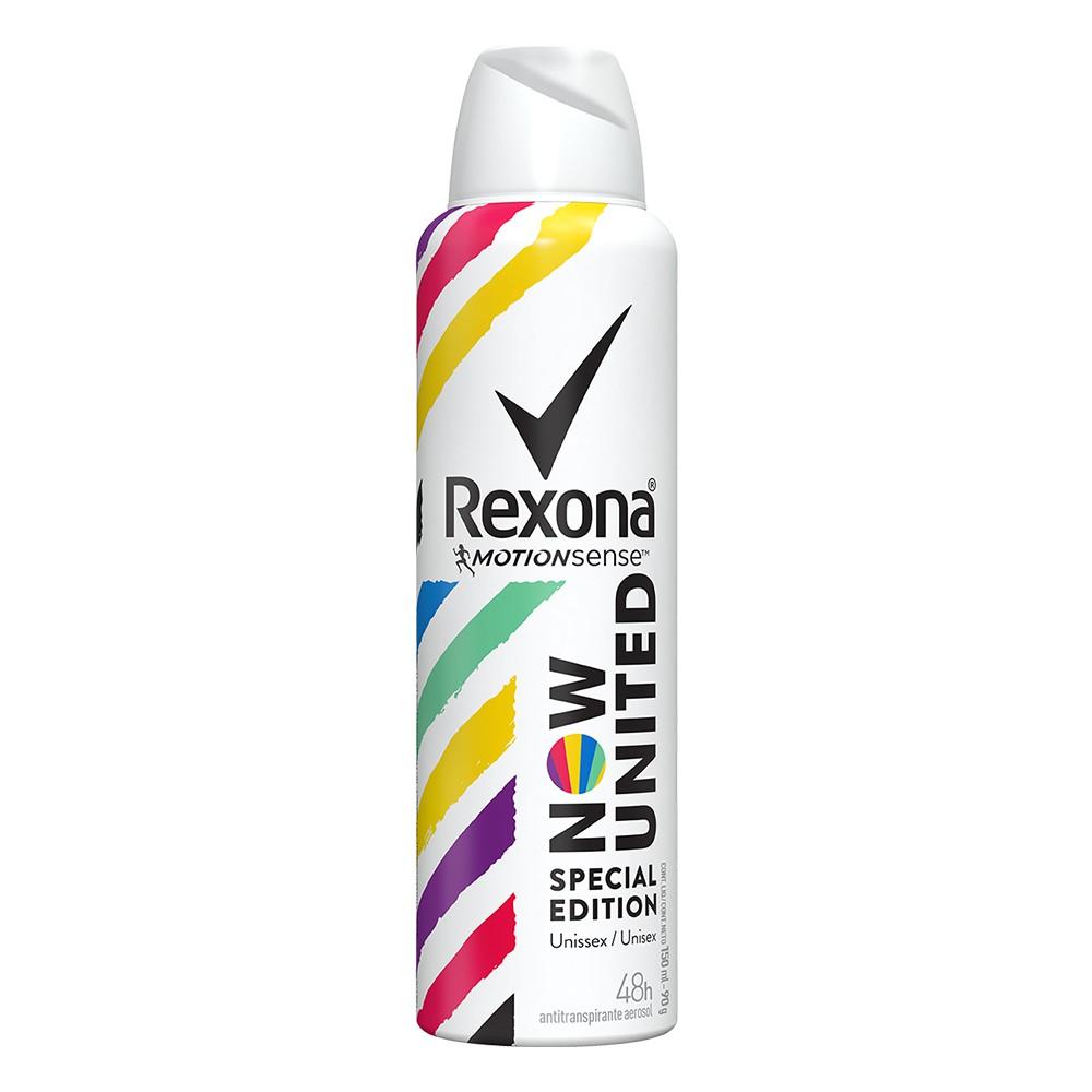 Desodorante Antitranspirante Aerossol Now United - 150 Ml   Rexona  - Flor de Alecrim - Cosméticos