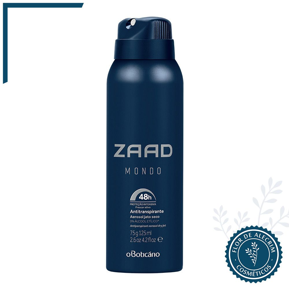 Desodorante Antitranspirante Aerossol Zaad Mondo - 125 ml | O Boticário  - Flor de Alecrim - Cosméticos